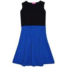 Kids Girls Skater Dress Black & Blue Summer Party Dance Dresses New Age 7-13 Yr