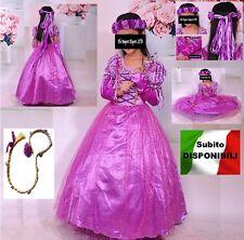 Rapunzel Vestito Carnevale Maschera Tangled Cosplay Girl Dress RA001DIR - B