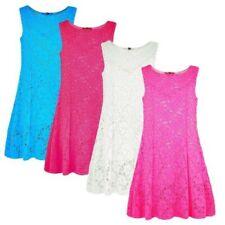 niña vestido de encaje Fiesta Niños Casual Verano Camiseta Ajustada flores 1-10