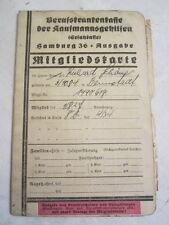 Mitgliedskarte Hamburg Berufkrankenkasse 1936