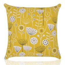 Fryetts Bergen Scandi/Retro  flower Cotton Print Cushions  Ochre Mustard Yellow