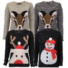 Mujer HEART & Soul suéteres de Navidad Reno Novedad Muñeco Nieve CABL
