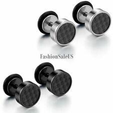 8mm Stainless Steel Carbon Fiber Men's Women's Round Dumbbell Ear Studs Earrings