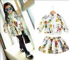 2PCS Fashion Kids Toddler Baby Girl Outfits coat+Skirt Girls autumn Clothes Set