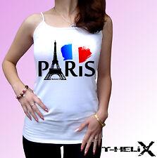 Parigi-Bianco T Shirt TOP TEE FLAG FRANCIA TORRE EIFFEL-LINEA UOMO DONNA Kids Baby