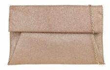 Womens Glitter Clutch Bag Oversized Plain Classic Handbag Sparkly Rose Gold
