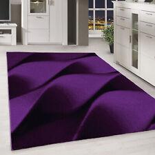 Kurzflor Teppich Wellen Muster Lila Schwarz Pink Meliert Wohnzimmer-Teppich