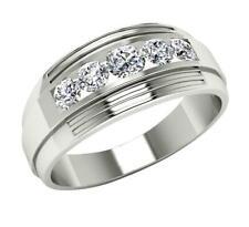 I1/G Natural 1.10Ct Diamond 14Kt White Gold Excellent Men's Engagement Ring Band