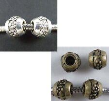 40pcs Tibetan Silver Smooth Tube Big Hole Spacers 11x6mm b0015