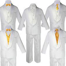 HOT Boy White Shawl Lapel Wedding Suits Tuxedo YELLOW Satin Bow Necktie Vest