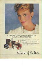 """PUBLICITE  1976  CHARLES OF THE RITZ cosmétiques """" votre maquillage doit etre u"""