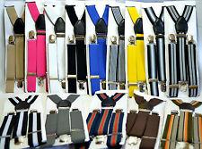 Men women unisex suspenders braces elastic adjustable formal party wedding kids
