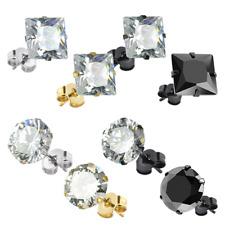 1 Paar Edelstahl Bling Ohrstecker Rund Ohrring Ohr Stecker mit Kristall Quadrat
