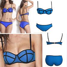 Women Blue/Black Bikini Swimwear Neoprene Geometric Bathing Suit Swimsuit S-L US