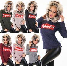 Womens Jumper Sweater Pullover Shirt Hoodie Fur Fabric Hood Faux Fur Super Girl