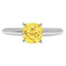 2.5 Cushion Designer Statement Bridal Classic Yellow Stone Ring 14k White Gold