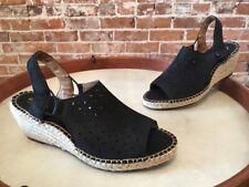 Clarks Artisan Black Leather Petrina Gail Espadrille Wedge Sandal New