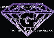 VRS Diamond CUSTOM INITIAL G DIAMANTE JEWEL STONE Metal CAR Decal Wall Sticker