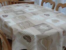En bois patchwork Plain coeurs blanc marron rouge gris PVC huile Vinyle TABLE CLOTH