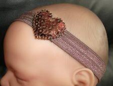 Fille bébé/reborn doll brown & brown sequin coeur serre-tête
