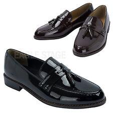 Mens Classic Moc Toe Tassel Patent Loafer Slip-Ons Dress Shoes Black Brown