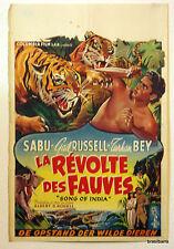 AFFICHE CINEMA BELGE : LA REVOLTE DES FAUVES 1949