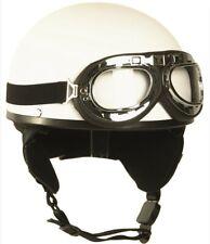 Motorradhelm Halbschale Chopperhelm mit Brille und Nackenschutz weiss