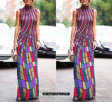 Vestito Lungo Donna Geometrico Multicolore Maxi Dress Woman Multicolor 110243