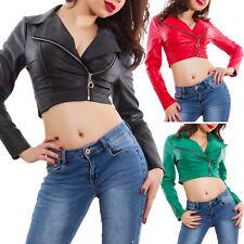 Giacca donna ecopelle chiodo corto zip sexy scollato giubbotto nuovo AS-5520