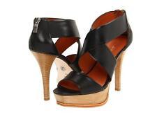 Pour La Victoire Tifara Black Vegetal heels sandal Stacked heel platform zipper