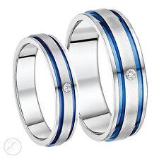 EL Y ELLA 5 y 7mm Titanio Diamante Azul Acanalado Incrustación