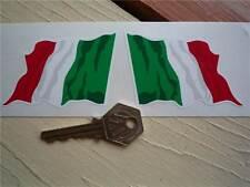 "Italiano Ondulado Bandera adhesivos para coches de 3 ""par Italia Italia Tricolore Bicicleta Carrera Rally"