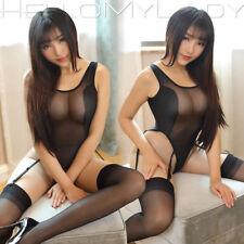 Sexy Backless Sheer Bodysuit Teddy Thong Leotard Costume with Garter Belt