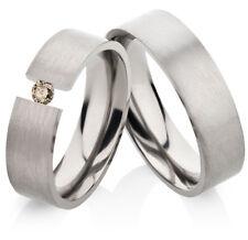 2 Eheringe Trauringe mit echtem Diamant Verlobungsringe aus Titan TLB29