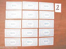 15 Banconote Monopoli da 100 lire vintage vecchio tipo