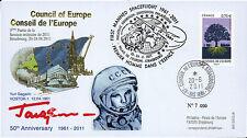 """CE62-IIIB FDC Conseil Europe """"GAGARINE - 50 ans 1er Homme dans l'Espace"""" 06-2011"""
