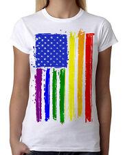 Juniors Rainbow American Flag White T-Shirt LGBT Gay Lesbian Pride Equality B801