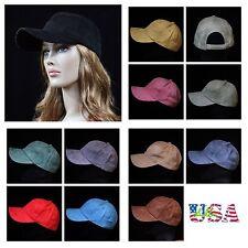 Suede Baseball Cap Plain Hat Visor Solid Caps Unisex Vintage Casual Hats Red