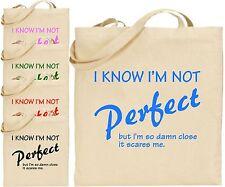 SO che non sono perfette DANNATO chiudere i grandi Cotone Tote Bag Shopping Divertente Regalo Di Natale