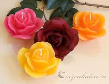 Kerze Rosenblüte Rose 9,5cm Kerzen Rosenkerzen Taufe Tischdeko Geschenke Deko
