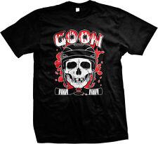 Goon Hockey Sticks Crossed Blood Puck Helmet Skull Enforcer Mens T-shirt