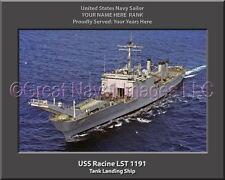 USS RACINE LST 1191 Street Sign us navy ship veteran sailor gift