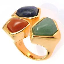 De Buman 18k Yellow Gold Plated Aventurine & Red Jadite Ring Size 7/ 7.5/ 8