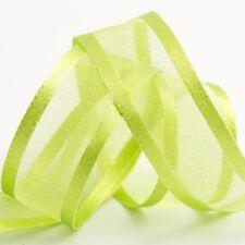 Bordato in organza e nastro di raso-Verde Chiaro-Craft-Da cucire 25m