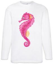 Pink Seahorse Men Long Sleeve T-Shirt Fairies Fun Unicorn Tattoo Sailor Anchor