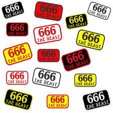 Un écusson 666 patch Rectangle Metal Rocker Biker Blouson (The Beast)