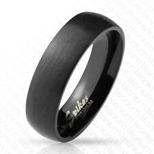6mm Titanium Black Brushed Domed Wedding Band Ring Size 6-13