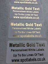 GOLD METALLIC PRINTED PERSONALISED WHITE LABELS, ADDRESS, CRAFTS, BESPOKE,