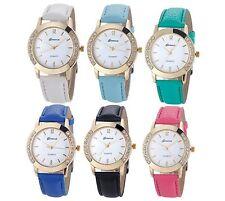 Women's girl's round case synthetic leather rhinestones quartz wrist watch