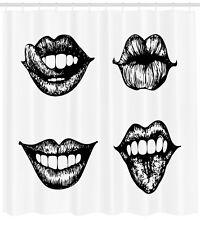 Kiss Shower Curtain Monochrome Sketch Style Print for Bathroom